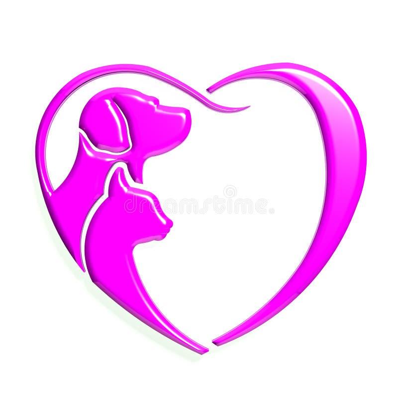 Amore del cuore di rosa del gatto del cane illustrazione vettoriale