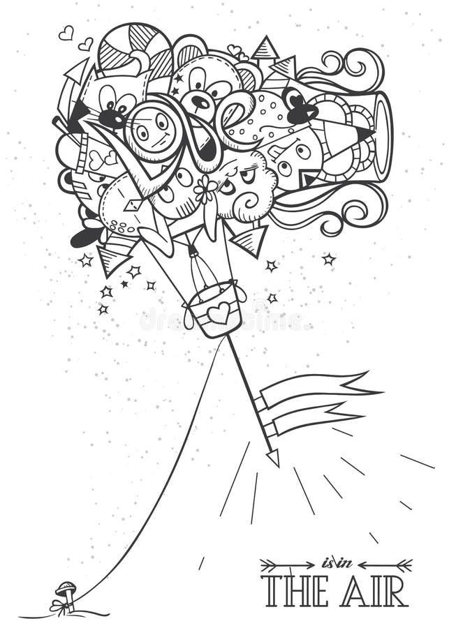 Amore del pallone di scarabocchio degli adulti di coloritura illustrazione vettoriale