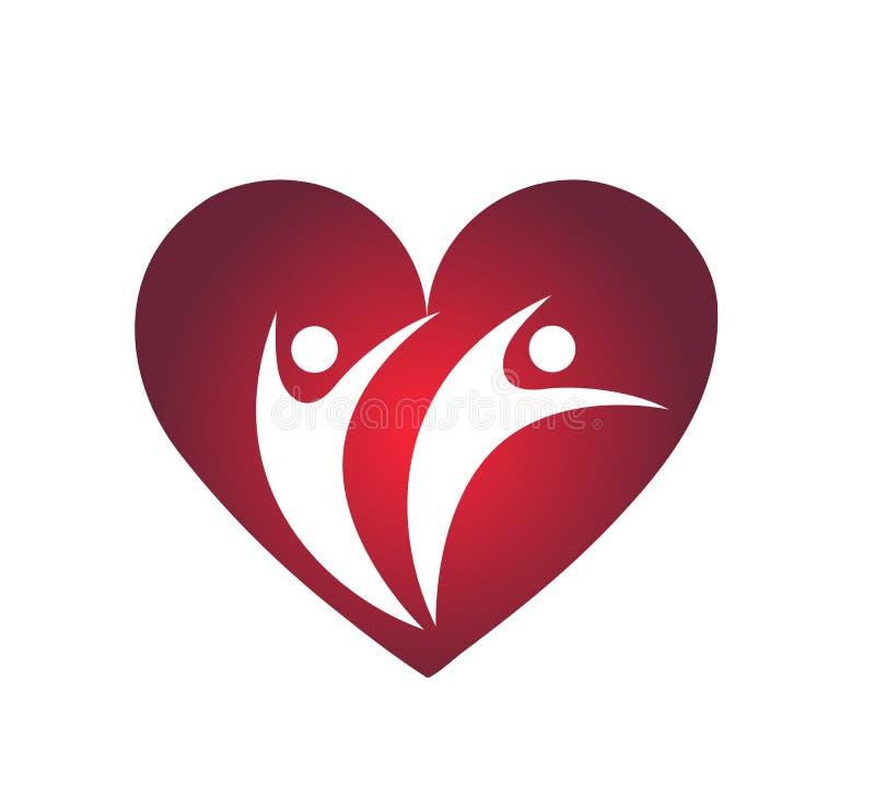 Amore della famiglia con il segno rosso dell'elemento dell'icona di logo di concetto della società del cuore su fondo bianco royalty illustrazione gratis
