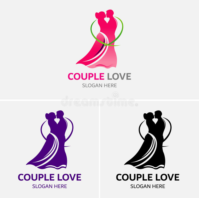 Amore delle coppie che balla Logo Template illustrazione vettoriale