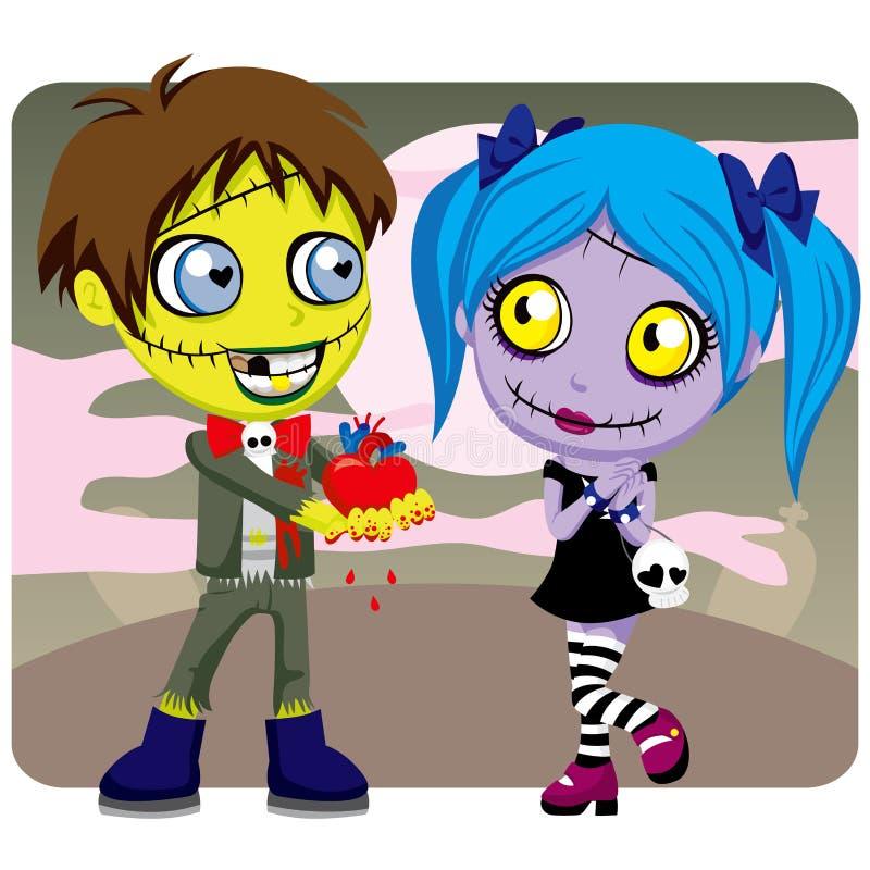 Amore delle zombie del biglietto di S. Valentino royalty illustrazione gratis