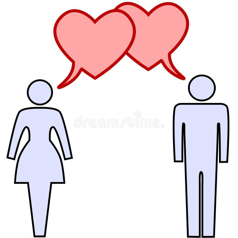 Amore di colloquio delle coppie nelle bolle di discorso del cuore illustrazione vettoriale