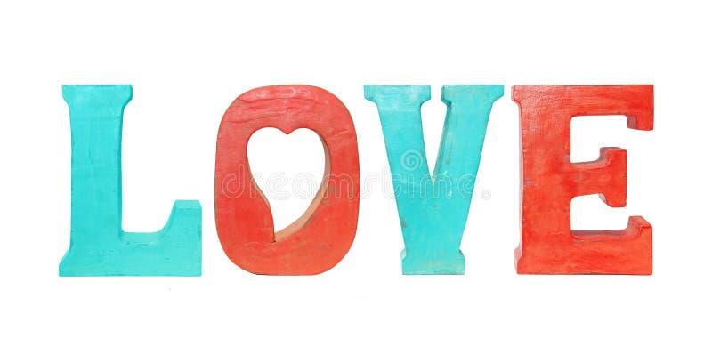 Amore di legno d'annata delle lettere isolato su bianco fotografia stock