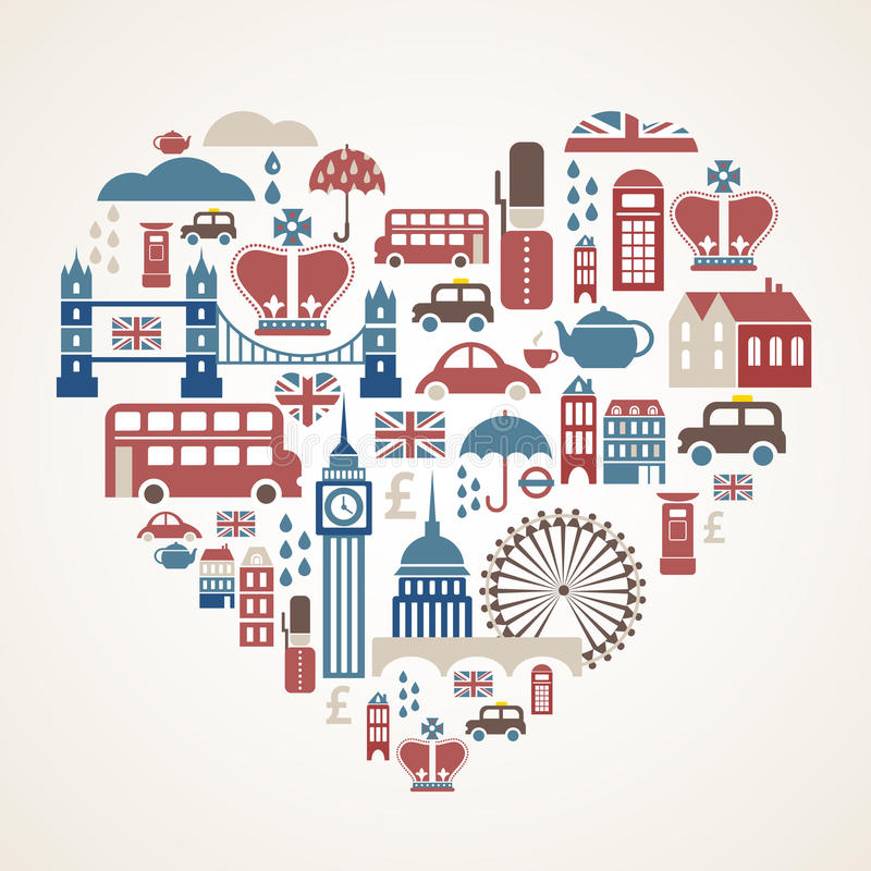 Amore di Londra - cuore con molte icone di vettore royalty illustrazione gratis