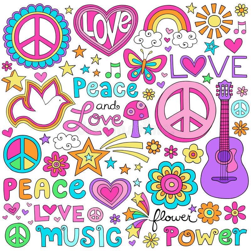 Amore di pace ed insieme di vettore di Doodles del taccuino di musica illustrazione di stock