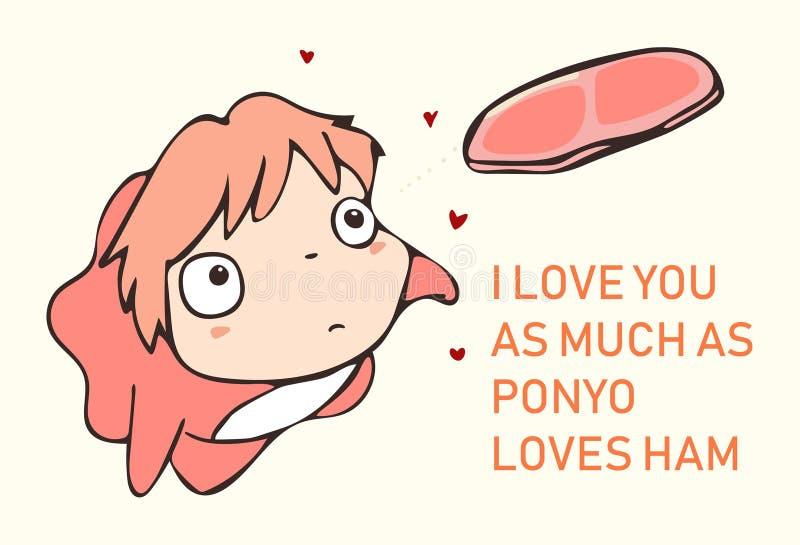 Amore di Ponyo per il vettore di giorno di biglietti di S. Valentino fotografia stock libera da diritti