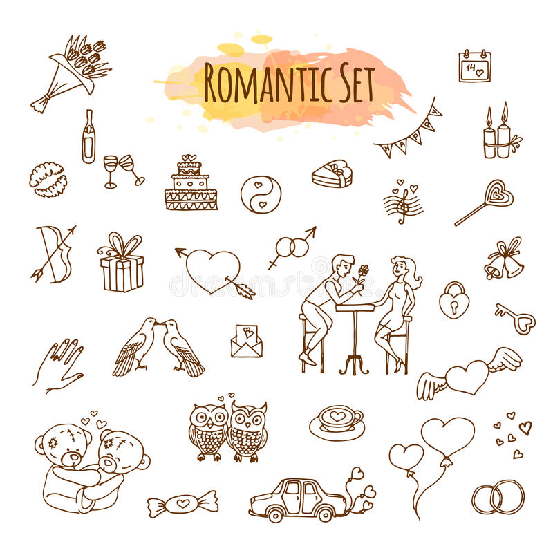 Amore disegnato a mano di scarabocchio ed illustrazioni romantiche Icone imprecise di nozze di vettore illustrazione di stock