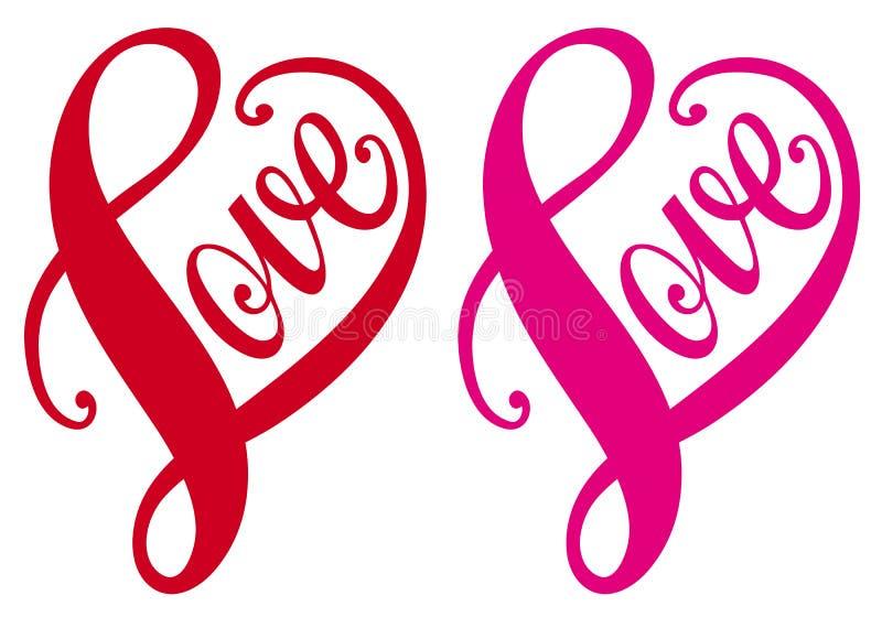 Amore, disegno rosso del cuore, vettore illustrazione vettoriale