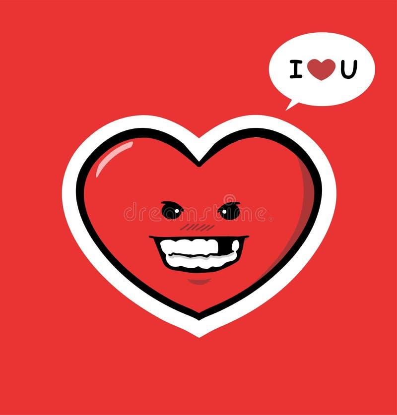 Amore divertente del carattere del cuore voi immagini stock