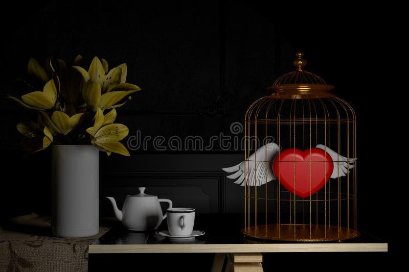 Amore e concetto Cuore rosso in gabbia per uccelli Rosa rossa 3d ren royalty illustrazione gratis