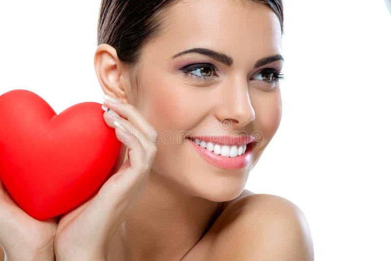 Amore e donna di giorno di biglietti di S. Valentino fotografia stock