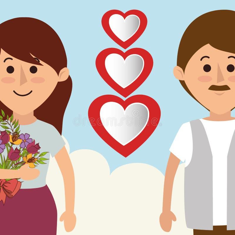 Amore e giorno di biglietti di S illustrazione vettoriale