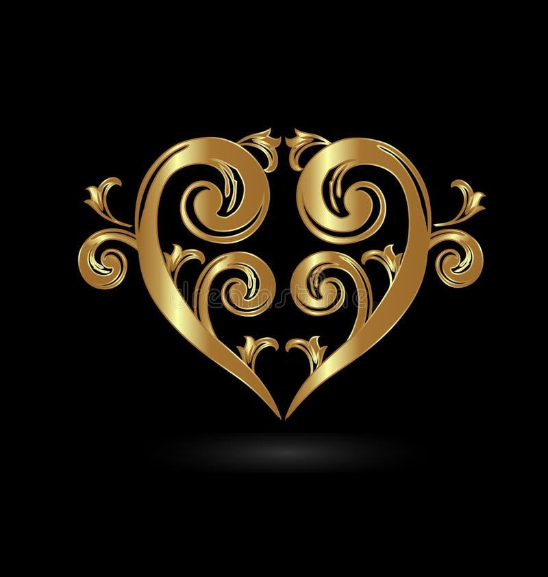 Amore floreale d'annata del cuore dell'oro royalty illustrazione gratis