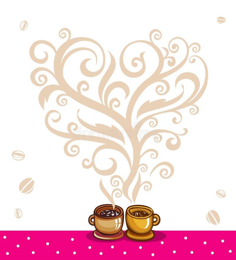 Amore fra caffè e tè royalty illustrazione gratis