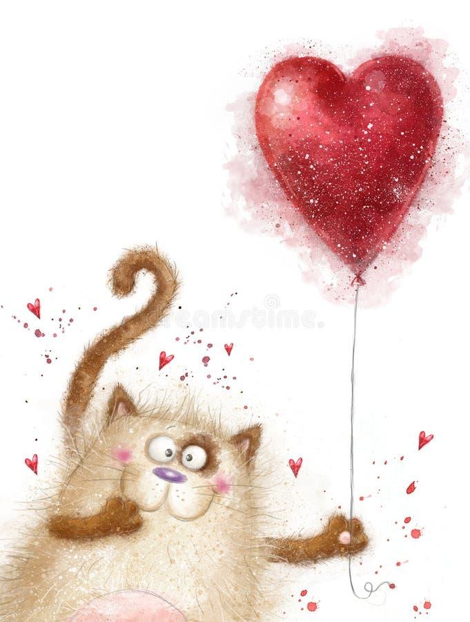 Amore Gatto sveglio con cuore rosso Gatto nell'amore Cartolina di giorno di biglietti di S Fondo di amore Ti amo Invitatnd di riu illustrazione vettoriale