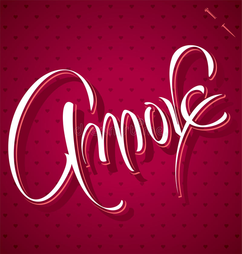 AMORE hand lettering (vector) royalty free illustration