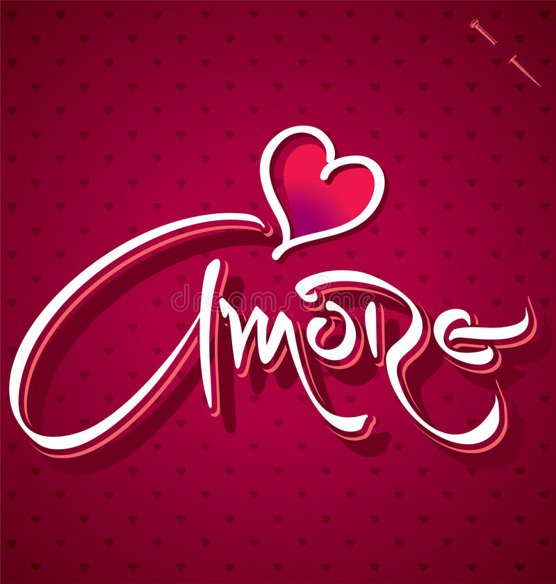 AMORE hand lettering (vector) vector illustration