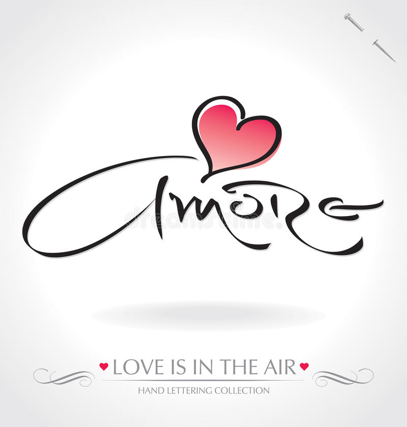 Amore hand lettering (vector) stock illustration
