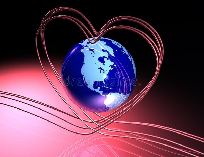 Amore intorno al globo illustrazione di stock