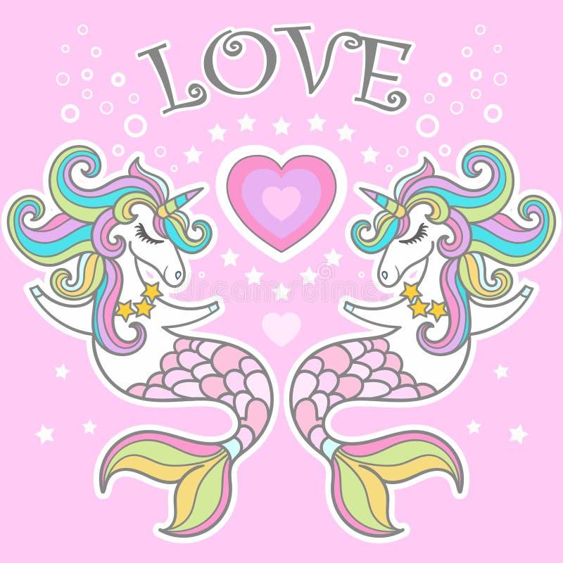 Amore Ippocampo dell'unicorno con l'illustrazione di vettore del cuore Vettore illustrazione vettoriale