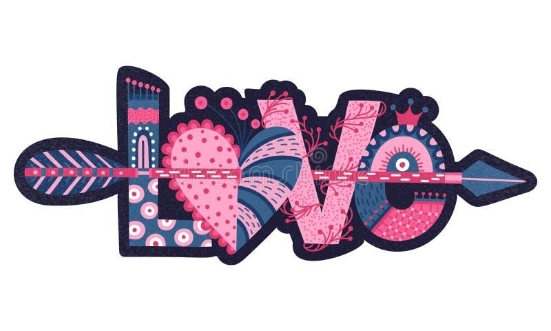 Amore Iscrizione disegnata a mano Giorno felice del `s del biglietto di S Cuore con la freccia Stile a mano libera doodle Festa a illustrazione vettoriale