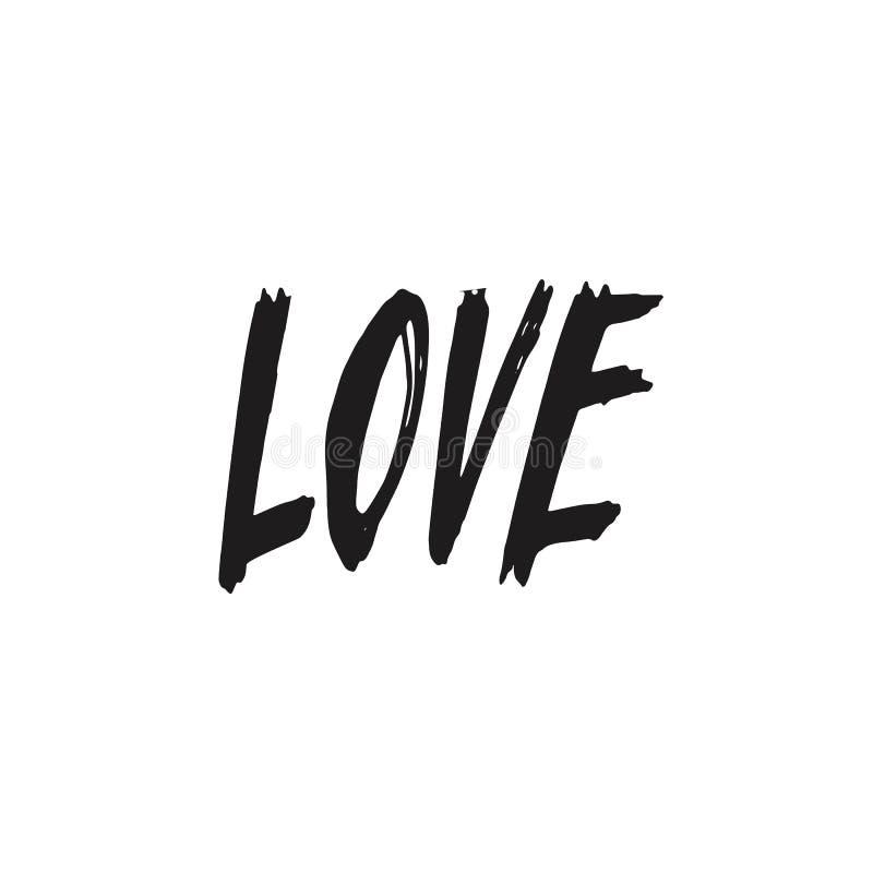 Amore iscrizione Giorno del `s del biglietto di S Testo disegnato a mano di scarabocchio Cartolina di calligrafia royalty illustrazione gratis