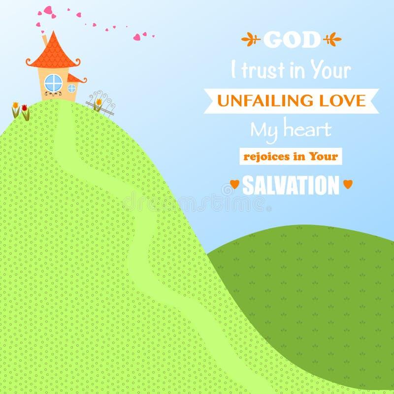 Amore Joy Faith Vector Illustration di culto di Dio Jesus Christ Background Design Cartoon fotografia stock libera da diritti