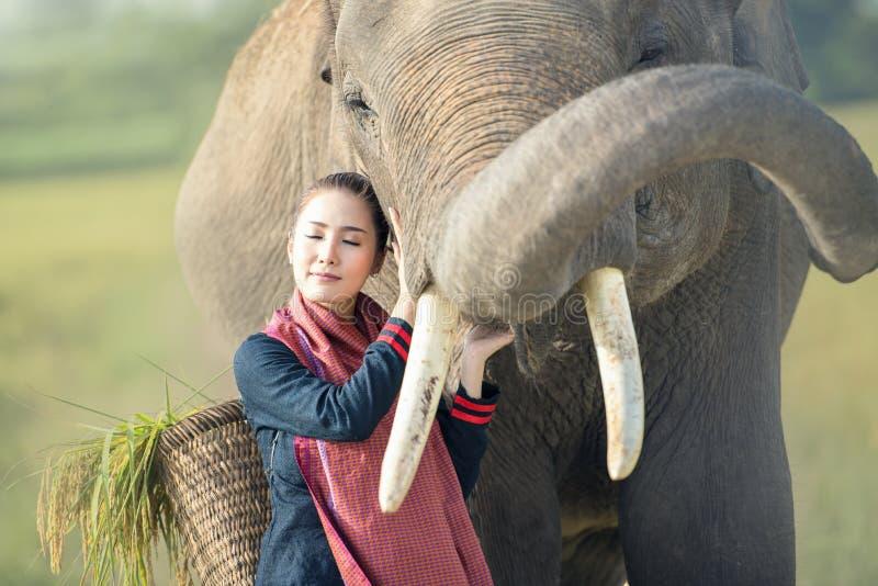 Amore, legame della gente ed elefanti fotografia stock libera da diritti