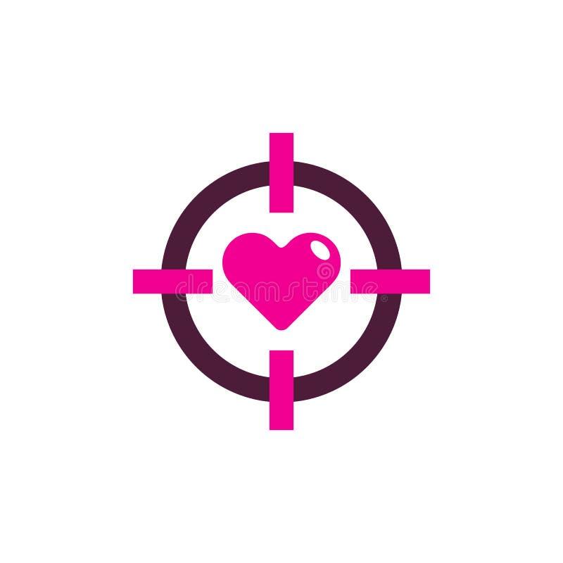 Amore Logo Icon Design dell'obiettivo illustrazione di stock