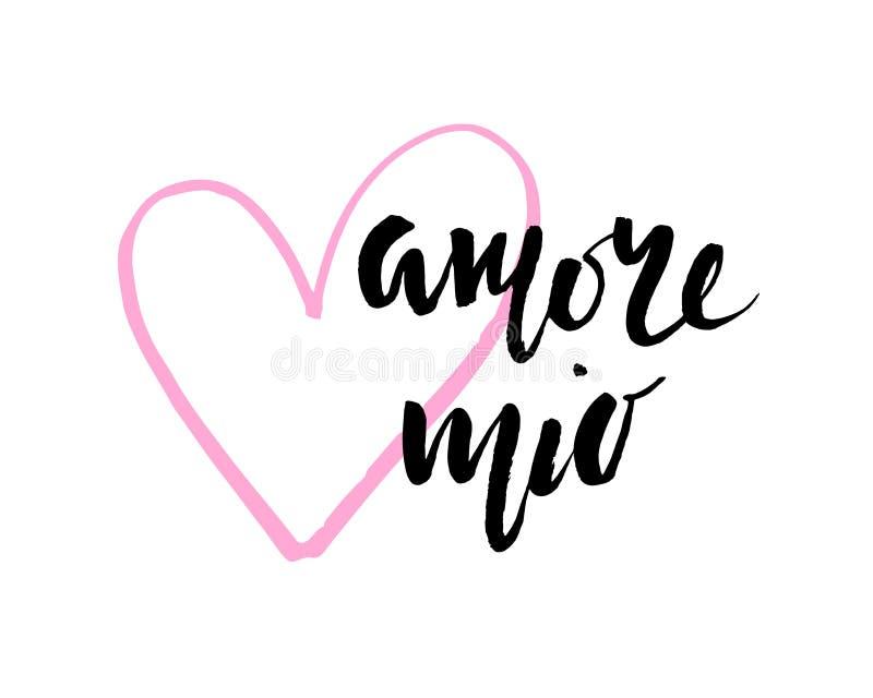 Amore mio Walentynka dnia kaligrafii karta projekt rysująca elementów ręka Ręcznie pisany nowożytny szczotkarski literowanie ilustracji