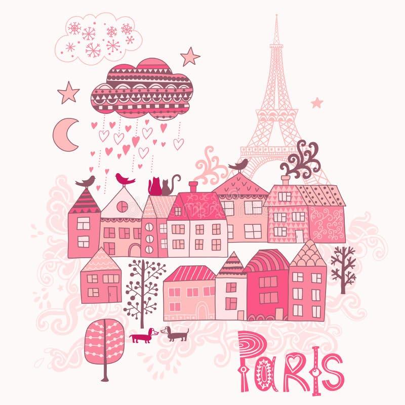 Amore negli scarabocchi di Parigi Via nella vecchia illustrazione del grafico della città illustrazione di stock