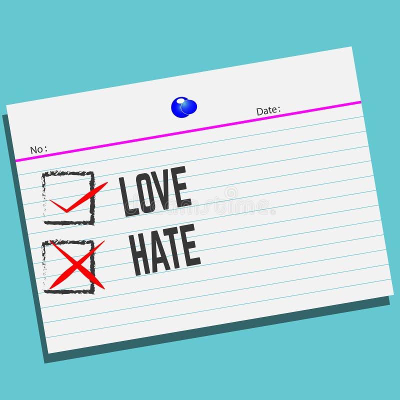 AMORE o ODIO su carta con progettazione creativa per la vostra cartolina d'auguri illustrazione vettoriale