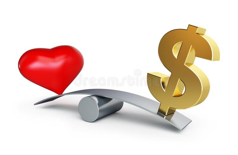 Amore o soldi illustrazione vettoriale