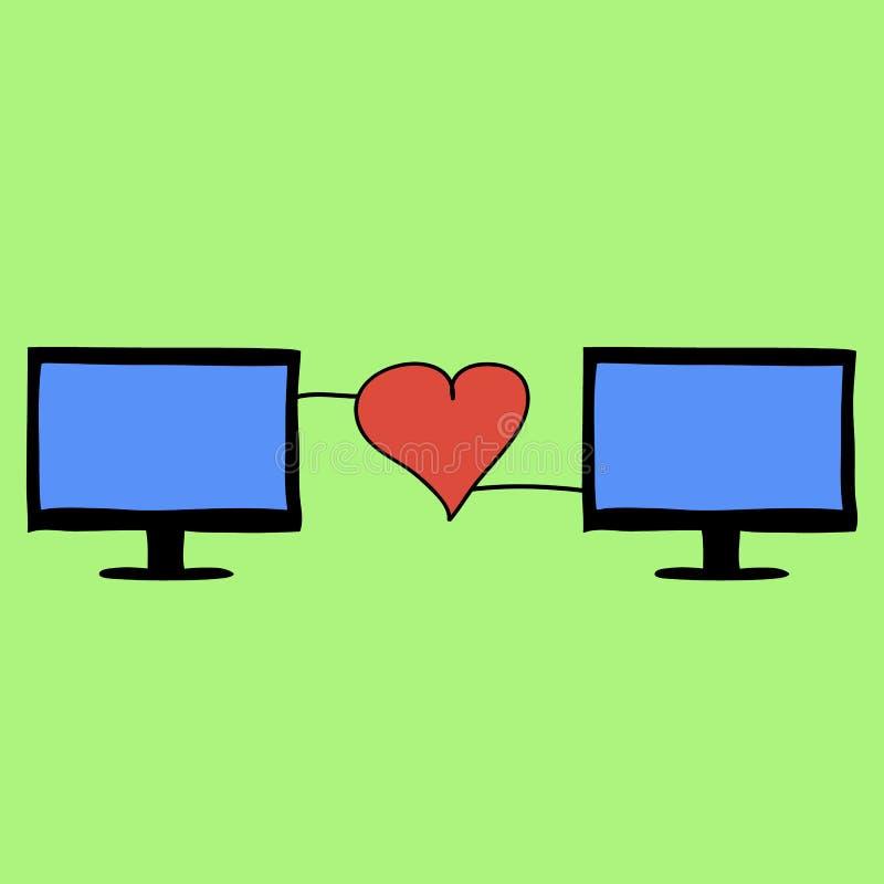 Amore online di stile di scarabocchio illustrazione di stock