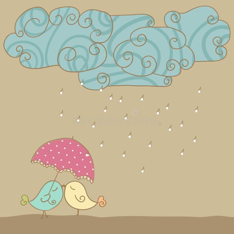 Amore in pioggia illustrazione di stock
