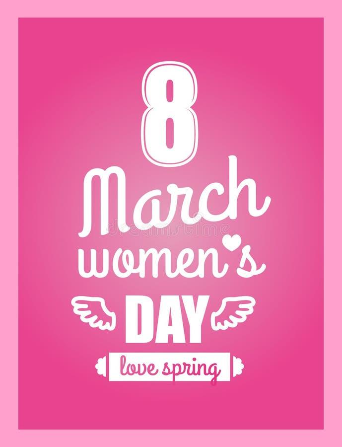 Amore primavera stampa di calligrafia di giorno delle donne s dell'8 marzo royalty illustrazione gratis