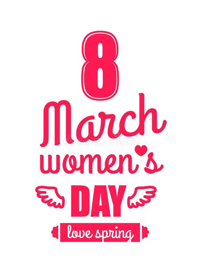 Amore primavera stampa di calligrafia di giorno delle donne s dell'8 marzo illustrazione di stock