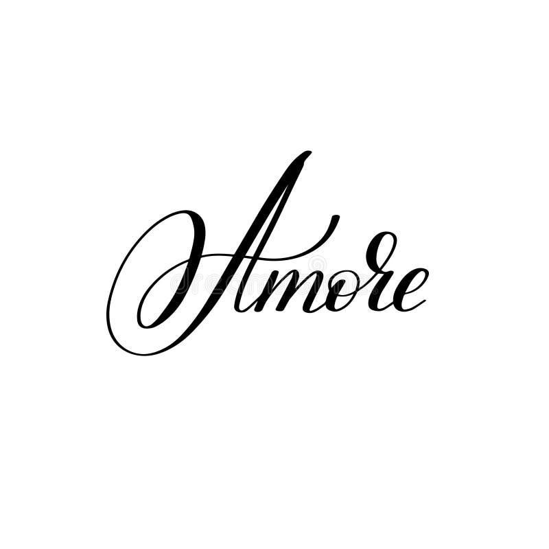 Amore ręka pisać literowanie walentynki ` s dnia projekt royalty ilustracja