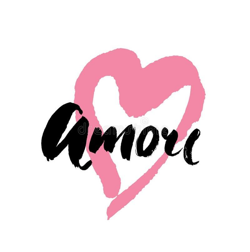 Amore - ręka rysujący literowania słowo z różowym sercem sztuki światła wektoru świat Walentynka dnia kaligrafii kartka z pozdrow ilustracja wektor