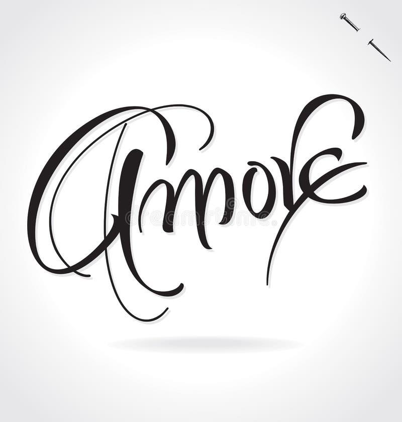 AMORE ręki literowanie () ilustracja wektor