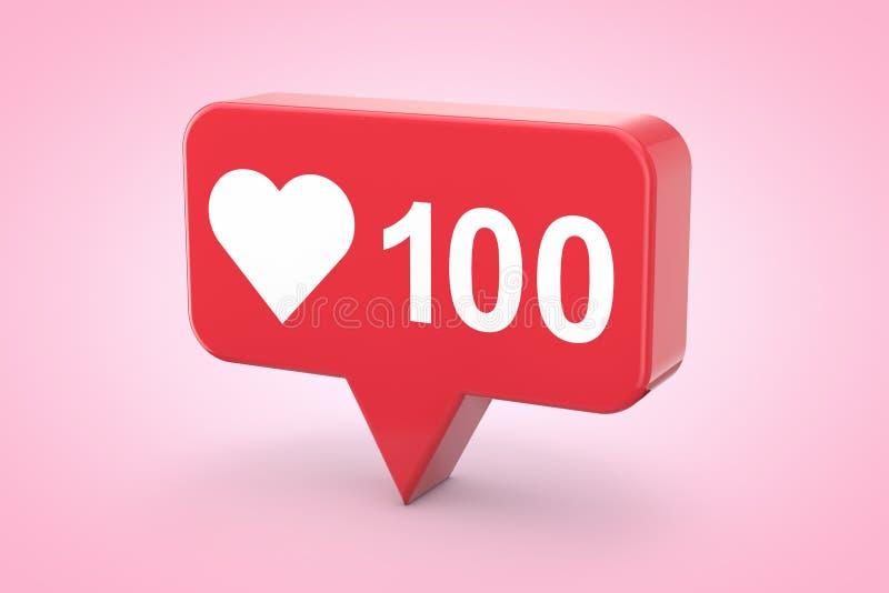Amore sociale della rete di media e come l'icona del cuore rappresentazione 3d royalty illustrazione gratis