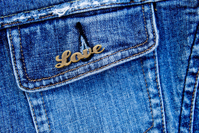 Amore su denim fotografia stock libera da diritti