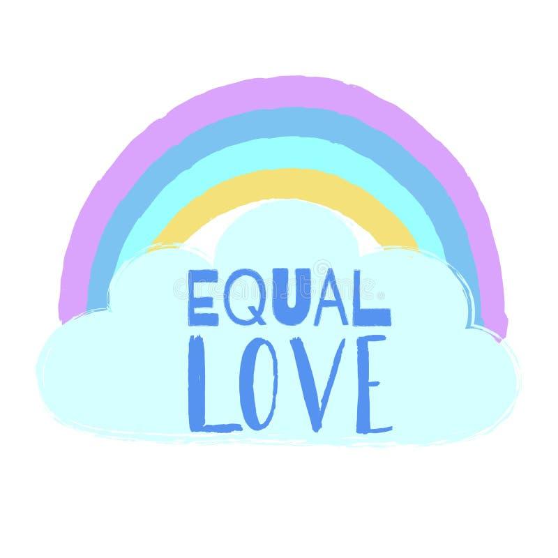 Amore uguale disegnato a mano dell'arcobaleno, della nuvola e del testo Manifesto ispiratore di Gay Pride, emblema di omosessuali illustrazione di stock