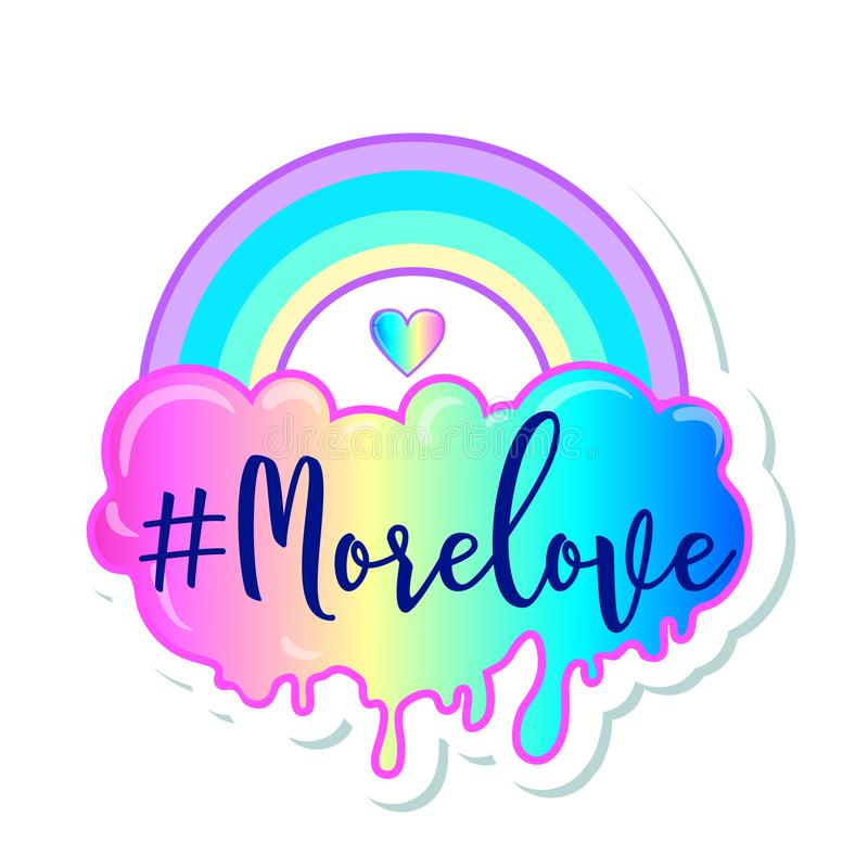 Amore uguale Manifesto ispiratore di gay pride con l'arcobaleno e il clou royalty illustrazione gratis