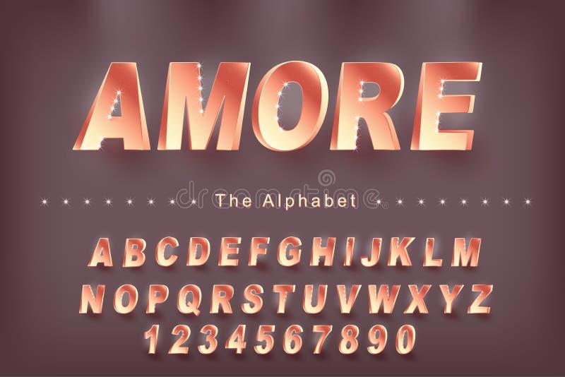 'Amore 'vektor av den moderna djärva stilsorten och alfabet, stilsort, bokstäver och nummer vektor illustrationer