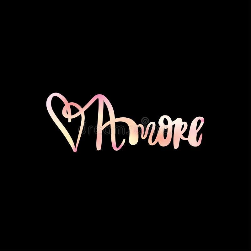 Amore zwrota ręka rysująca miłość w włoskim literowaniu ilustracja wektor
