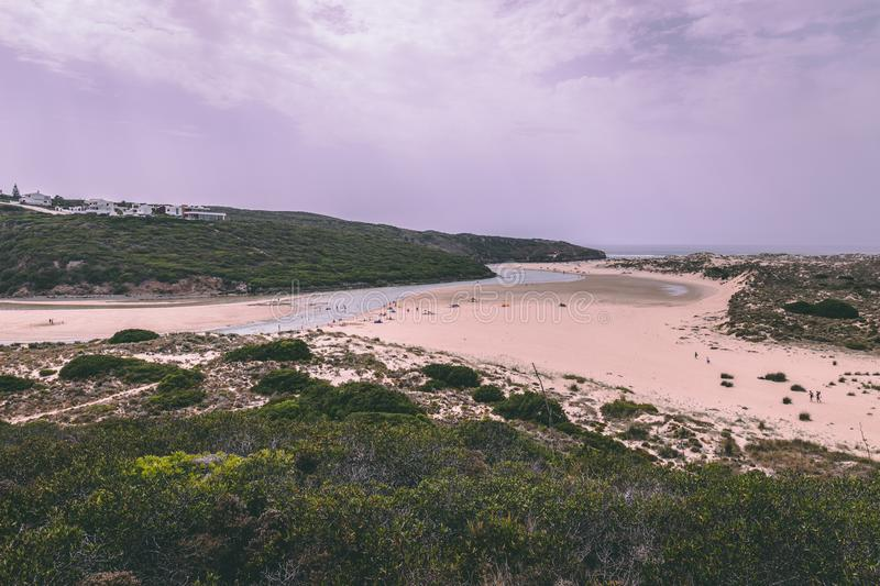 The Amoreira beach in Aljezur, Portugal. August 1st, 2018, Aljezur, Portugal - the Amoreira beach on a summer day stock photo