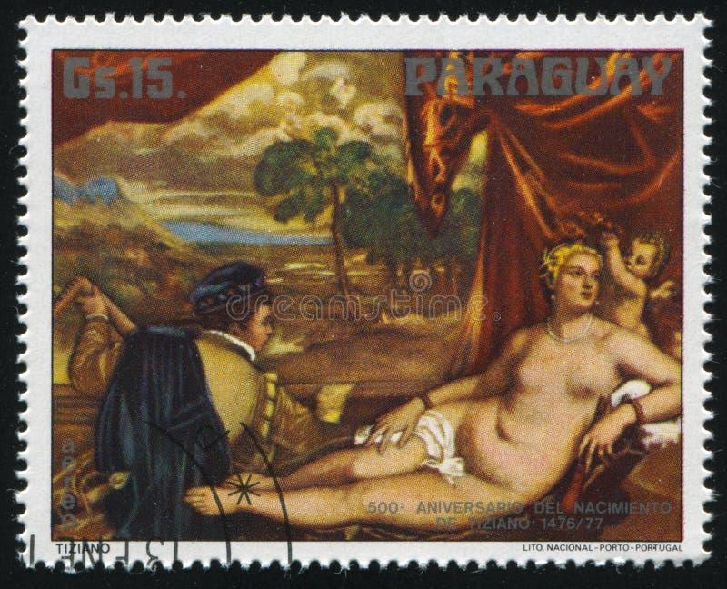 Amorek i bardonu gracz Titian obrazy royalty free