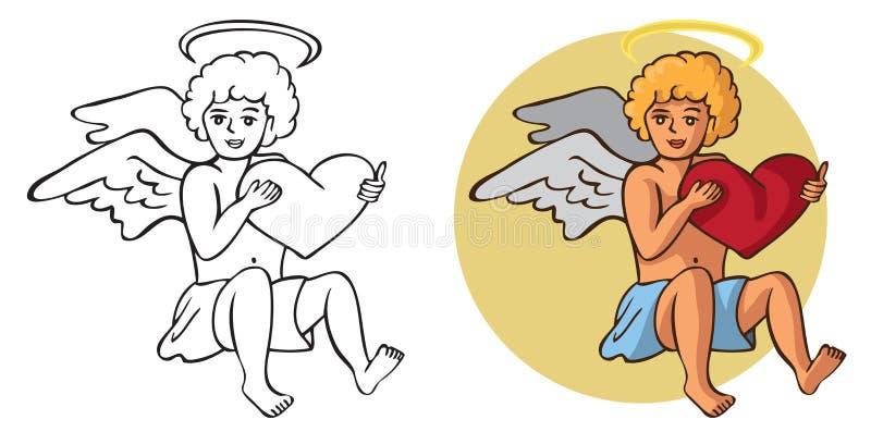 Amorek i serce w rękach royalty ilustracja
