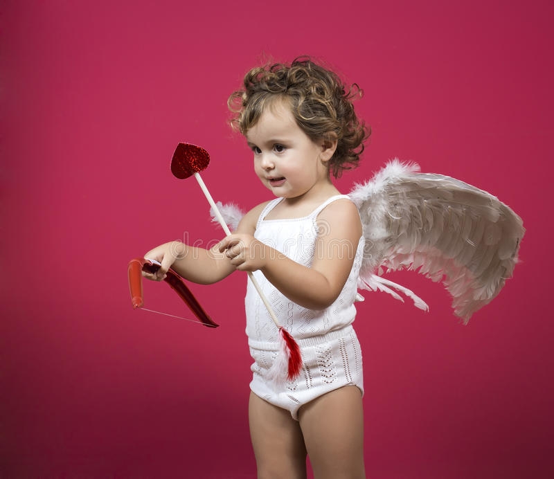 Amorek mała dziewczynka obraz royalty free